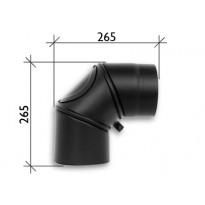 Savuhormi, kulma 90°, ∅120, nuohousluukku, kulmakappaleina, musta