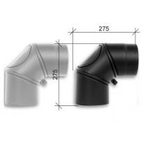 Savuhormi, kulma 90°, ∅130, nuohousluukku, kulmakappaleina, musta/harmaa