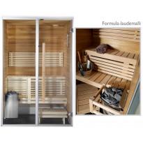 Kylpyhuonesauna Sirius Formula, 1100x1140, eri materiaaleja, lämpökäsitelty panelointi