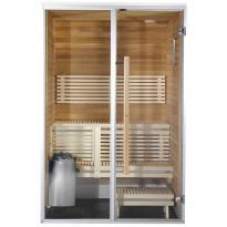 Kylpyhuonesauna Sirius Futura, 1400x1240, eri materiaaleja, lämpökäsitelty panelointi