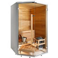 Kylpyhuonesauna Sirius Formula, 1440x1240, eri materiaaleja, kulmamalli
