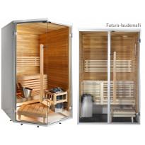 Kylpyhuonesauna Sirius Futura, 1440x1240, eri materiaaleja, lämpökäsitelty panelointi, kulmamalli