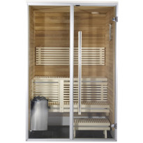 Kylpyhuonesauna Sirius Formula, 1400x1240, eri materiaaleja, lämpökäsitelty panelointi