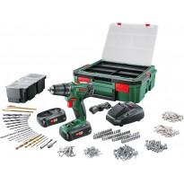 Akkuporakone Bosch PSR 1800 LI-2, 2x1.5Ah akuilla, Systembox + 241 tarviketta