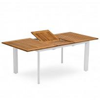Ruokapöytä Nydala, jatkettava, 90x150/200cm, pyöreät jalat, valkoinen/tammi
