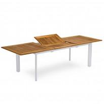 Ruokapöytä Nydala, jatkettava, 90x200/280cm, valkoinen/teak
