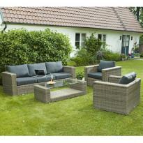 Sohvaryhmä Varese (3h-sohva, 2xnojatuolit, pöytä) ruskeanharmaa