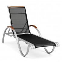 Aurinkotuoli Nydala, 167x61cm, säädettävä selkänoja, musta/alumiini