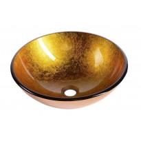 Lasinen malja-allas Interia Ago, pöytätasolle, kulta, 420 X 420 X 140 mm