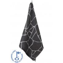 Pyyhe Salasauna, 75x150cm, harmaa/valkoinen