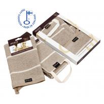 Liituraita-selänpesin ja- pesukinnas, pellava, lahjapaketti