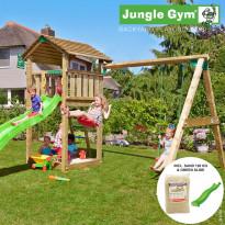 Leikkikeskus Jungle Gym Cottage, sis. keinumoduuli, 120 kg hiekkaa ja vihreä liukumäki