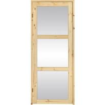 Saunan ovi SLB, 8x19, kirkas lasi, puuvalmis, Verkkokaupan poistotuote