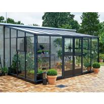 Kasvihuone Veranda 12,9m², antrasiitinmusta alumiinirunko, turvalasit ja kennokatto