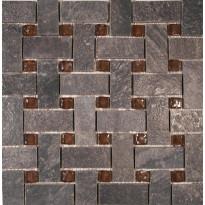 Lasimosaiikki Korpikulta, tumman harmaa, 30x30cm