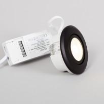 LED-alasvalo FTLight Pallas, himmennettävä, 6W, 450lm, 3000K, musta
