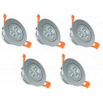 LED-kohdevalosarja ElectroGEAR, IP20, 5-osainen, teräs