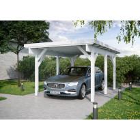 Autokatos Luoman Lillevilla KH 300, yhdelle autolle, 17m², valkoiseksi esikäsitelty