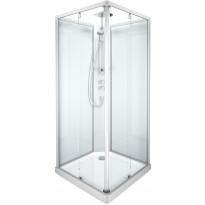 Suihkukaapin etulasi Ido Showerama 10-5, 900x900, suorakulmainen, mattahopea profiili, kirkas lasi, Verkkokaupan poistotuote