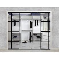 Tilanjakaja/liukuovi Mirror Line Ruudukko musta neljällä ovella, korkea malli, aukon koko 2500x3130, Verkkokaupan poistotuote