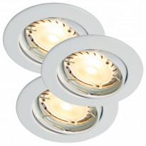 Upotettava spottisetti Triton 3-Kit LED Hi-Power, Ø90x110mm, 3kpl, valkoinen