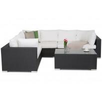 Oleskeluryhmä Jumbo Kulmasohva + pöytä, polyrottinki