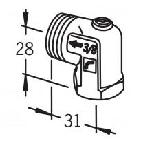 Sulkuyhdistäjä Oras, DN20, kulma, ilman liitintä