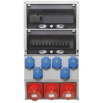 Pistorasiakeskus Malmbergs Maxi vikavirtasuojalla 1kpl 3X32A PR + 2kpl 3X16A PR + 6kpl schuko 32A IP44