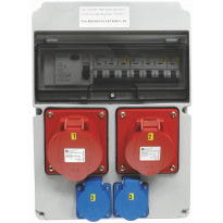 Pistorasiakeskus Malmbergs Standard vikavirtasuojalla 1kpl 3X32A PR + 1kpl 3X16A PR + 2kpl schuko 32A IP44