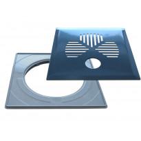 Lattiakaivonkansi PP-Tuote Apila putkelle, RST/graniitin harmaa, vakioasennuskehyksellä 197 x 197 mm