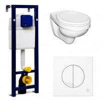 Seinä WC-istuinpaketti Triomont all-in-one, täydellinen toimitus, valkoinen