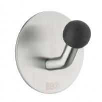 Koukku BB design, tarrakiinnitteinen, kiiltävä/musta nuppi, harjattu