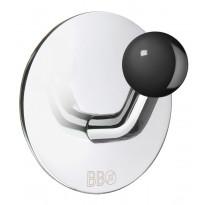 Koukku BB design, tarrakiinnitteinen, kiiltävä/musta nuppi