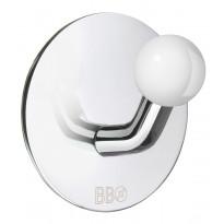 Koukku BB design, tarrakiinnitteinen, kiiltävä/valkoinen nuppi