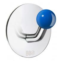 Koukku BB design, tarrakiinnitteinen, kiiltävä/sininen nuppi