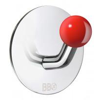 Koukku BB design, tarrakiinnitteinen, kiiltävä/punainen nuppi