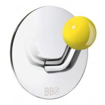 Koukku BB design, tarrakiinnitteinen, kiiltävä/keltainen nuppi