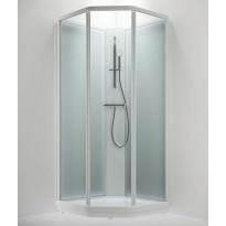 Suihkukaappi BRIC 2 kirkaslasi(etu), frost (takaseinä), vasenmalli, 800 x 900mm