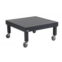 Sohvapöytä Ambon, 89x89cm, pyörillä, harmaa