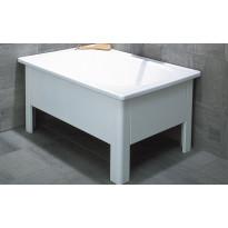 Istuma-amme 105x70cm, emali, valkoinen
