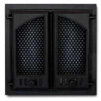 Takkaluukku 404, 2-ovinen puoliholvikaari, 410x410mm, kipinäverkoilla