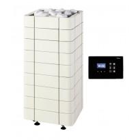 Sähkökiuas Nuoska 105, 10,5kW (9-15m²), erillisellä ohjauskeskuksella, keraaminen, valkoinen