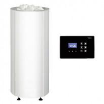 Sähkökiuas Sumu 105 E, erillisellä ohjauskeskuksella, teräsverhoilu, valkoinen 10,5kW (9-15m²)
