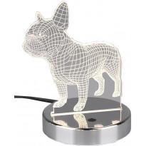 LED-pöytävalaisin Trio Dog, 178x145x120mm, kromi