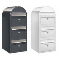 Postilaatikko Trio 80x32x35cm, valkoinen tai harmaa, kampanjatarjouksena nimikyltti kaupan päälle!