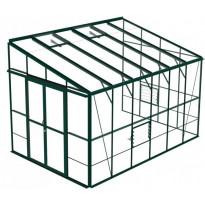 Kasvihuone HEBOS812, 10m², vihreä, lasilla, seinustamalli
