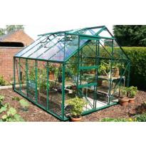 Kasvihuone 128, 10m², vihreä runko, lasilla ja sokkelilla