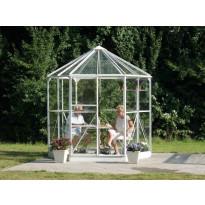 Kasvihuone/huvimaja Vitavia Hera 4500, 4,5m², vihreä runko, pyöreä, lasilla