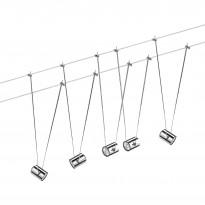 Vaijerivalaisinsetti Paulmann TeleComet kromi 5 valaisinta + vaijeri 10 m + muuntaja