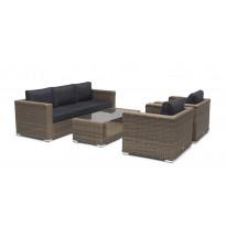 Sohvaryhmä Hillerstorp Varese, 3h-sohva, 2xnojatuolit, pöytä, polyrottinki, ruskea/harmaa